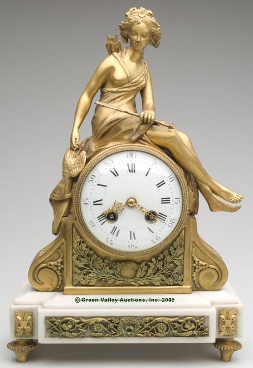 FRENCH GILT-BRONZE AND MARBLE FIGURAL MANTLE CLOCK