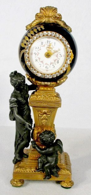 Ornate French Lady & Cherub Figural Clock