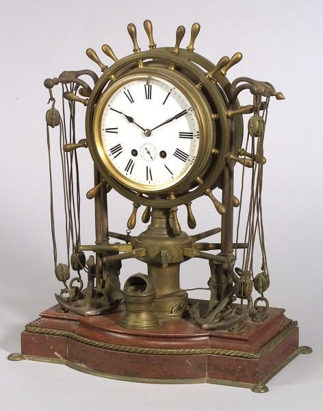 Figural Bronze and Marble Ship's Bell Clock
